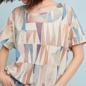 Postmark Anthro Geometric Cropped Boxy Tee Linen